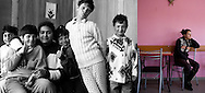 Mariana Rotaru -second left on the picture- when she was 10 in 1995 and in 2009 at a bar in Popricani where she was a waitress. She now has a 2 years-old girl and her partner is from the village.