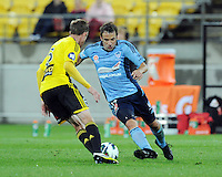 Sydney's Alessandro del Piero runs at  the Wellington Phoenix's Alex Smith in the A-League foootball match at Westpac Stadium, Wellington, New Zealand, Saturday, October 06, 2012. Credit:SNPA / Ross Setford