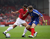 Photo: Rich Eaton.<br /> <br /> Bristol City v Crewe Alexander. Coca Cola League 1. 14/10/2006. Bristols goal scorer Scott Murray left and David Vaughan of Crewe