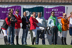 Team Belgium Olivier Philippaerts, Francois Mathy junior, Frans Lens, Jos Verlooy, Nena and Axel Verlooy, Sascha Marissen<br /> Furusiyya FEI Nations Cup presented by Longines<br /> Longines Jumping International La Baule 2014<br /> © Hippo Foto - Dirk Caremans