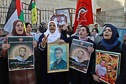 Palestinians attend a rally calling for the release of two Palestinian prisoners in Israeli jails, in the West Bank city of Nablus, December 17, 2012, Photo by Imago / i-Images...UK ONLY