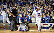 CHICAGO, IL - OCTOBER 15:  Miguel Montero #47 of the Chicago Cubs hits a grand slam home run in the eighth inning off of Joe Blanton #55 of the Los Angeles Dodgers during Game 1 of NLCS at Wrigley Field on Saturday, October 15, 2016 in Chicago, Illinois. (Photo by Ron Vesely/MLB Photos via Getty Images)
