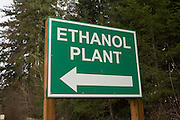 Sign for ethanol plant in western Oregon.