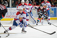 KELOWNA, CANADA, NOVEMBER 11: Ryan Dech #22 of the Edmonton OIl Kings blocks the shot as the Edmonton OIl Kings visit the Kelowna Rockets  on November 11, 2011 at Prospera Place in Kelowna, British Columbia, Canada (Photo by Marissa Baecker/Shoot the Breeze) *** Local Caption *** Ryan Dech;