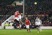 Nottingham Forest forward Joe Lolley (23) heads at goal during the EFL Sky Bet Championship match between Nottingham Forest and Bristol City at the City Ground, Nottingham, England on 19 January 2019.