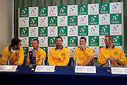 (L-R) Marinko Matosevic &amp; Lleyton Hewitt &amp; Patrick Rafter - captain of Australia team &amp; Bernard Tomic &amp; Chris Guccione all from Australia while press conference three days before the BNP Paribas Davis Cup 2013 between Poland and Australia at Torwar Hall in Warsaw on September 10, 2013.<br /> <br /> Poland, Warsaw, September 10, 2013<br /> <br /> Picture also available in RAW (NEF) or TIFF format on special request.<br /> <br /> For editorial use only. Any commercial or promotional use requires permission.<br /> <br /> Photo by &copy; Adam Nurkiewicz / Mediasport