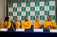 (L-R) Marinko Matosevic & Lleyton Hewitt & Patrick Rafter - captain of Australia team & Bernard Tomic & Chris Guccione all from Australia while press conference three days before the BNP Paribas Davis Cup 2013 between Poland and Australia at Torwar Hall in Warsaw on September 10, 2013.<br /> <br /> Poland, Warsaw, September 10, 2013<br /> <br /> Picture also available in RAW (NEF) or TIFF format on special request.<br /> <br /> For editorial use only. Any commercial or promotional use requires permission.<br /> <br /> Photo by © Adam Nurkiewicz / Mediasport