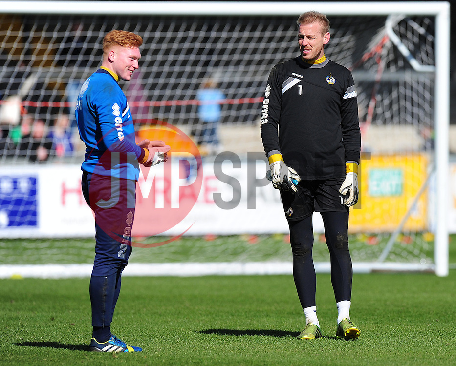 Bristol Rovers' Kieran Preston and Bristol Rovers' Steve Mildenhall. Photo mandatory by-line: Alex James/JMP - Mobile: 07966 386802 - 31/03/2015 - SPORT - Football - Bristol - Memorial Stadium - Vanarama Football Conference - Bristol Rovers Open Training Session