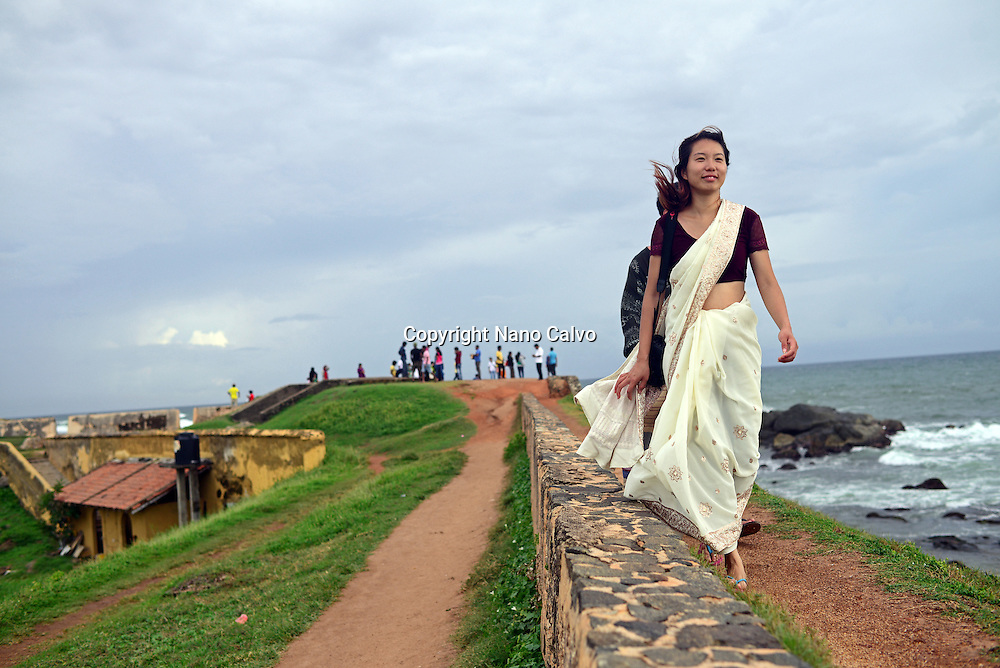 People visiting UNESCO World Heritage, Galle Fort.