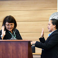 Shannon Pinto is sworn is by Magistrate Judge Virginia Yazzie at the Magistrate Courthouse in Gallup Tuesday.