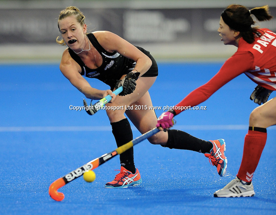 New Zealand Black Stick Sam Charlton in action in the Festival of Hockey, New Zealand Womens Black Sticks v Korea, Unison Sports Park, Hastings, Saturday, April 118 2015. Photo: Kerry Marshall / photosport.co.nz