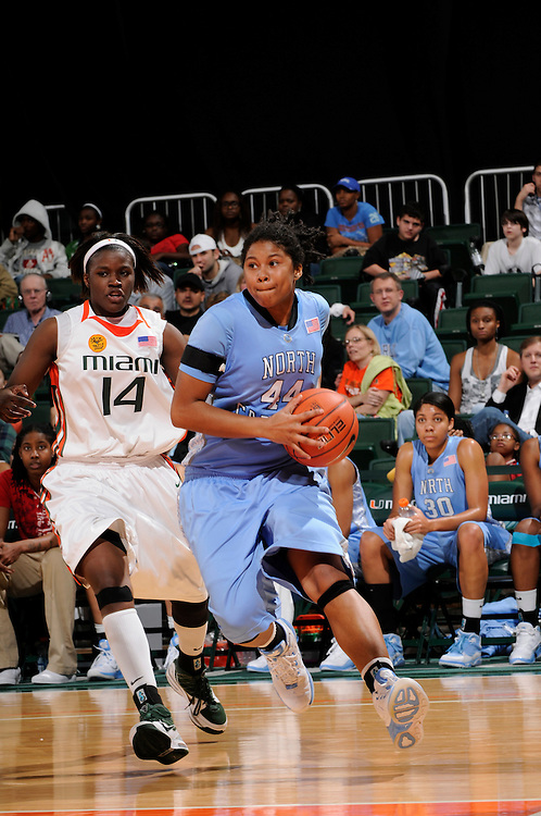 February 4, 2010: Tierra Ruffin-Pratt of the North Carolina Tar Heels in action during the NCAA basketball game between the Miami Hurricanes and the North Carolina Tar Heels. The 'Canes defeated the Tar Heels 80-69.