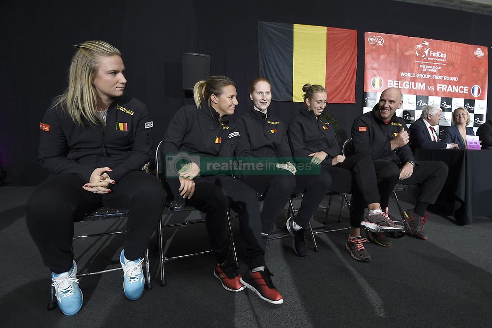 February 8, 2019 - Liege, France - Johan VAN HERCK captain of Belgium, Elise MERTENS, Alison VAN UYTVANCK, Kirsten FLIPKENS, Ysaline BONAVENTURE (Credit Image: © Panoramic via ZUMA Press)