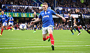 Caolan Lavery takes control of the lofted ball during the Sky Bet League 2 match between Portsmouth and Mansfield Town at Fratton Park, Portsmouth, England on 24 October 2015. Photo by Michael Hulf.