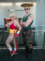 July 5, 2018 - Los Angeles, California, U.S - Cosplayers dressed as Maki Genryusai and Guile from the video game series Street Fighter attend Anime Expo 2018 held at the Los Angeles Convention Center in Los Angeles, California Thursday July 5, 2018. Anime Expo 2018 – Day 1. (Credit Image: © Prensa Internacional via ZUMA Wire)