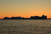 Icebergs from the icefjord, Ilulissat, Disko Bay, Greenland, Polar Regions at sunset