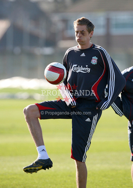 Liverpool, England - Friday, March 2, 2007: Liverpool's Peter Crouch, sporting an impressive black-eye, during training at Melwood ahead of the Premiership match against Manchester United at Anfield. (Pic by David Rawcliffe/Propaganda)