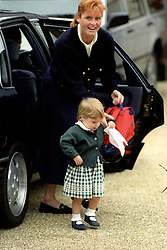 File photo dated 09/09/1992 of Princess Eugenie arriving with her mother, the Duchess of York, at the start of a new term at the Montessori nursery school in Winkfield, near Windsor. Buckingham Palace has announced that Princess Eugenie has become engaged to Jack Brooksbank.
