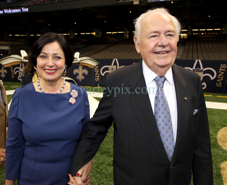 04 October 2011. New Orleans, Louisiana, USA.  <br /> NFL's New Orleans Saints announce a multi million dollar deal with Mercedes-Benz for naming rights on the Louisiana Superdome. Now the Mercedes-Benz Superdome. Tom Benson (Owner of Saints) and wife Gayle Benson.<br /> Photos; Charlie Varley