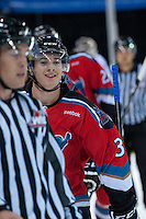 KELOWNA, CANADA - AUGUST 30: Riley Stadel #3 of the Kelowna Rockets celebrates a goal against the Kamloops Blazers on August 30, 2014 during pre-season at Prospera Place in Kelowna, British Columbia, Canada.   (Photo by Marissa Baecker/Shoot the Breeze)  *** Local Caption *** Riley Stadel;