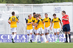 East Fife's Kevin Smith (10) cele scoring their goal. Half time : Falkirk 1 v 1 East Fife, Petrofac Training Cup played 25th July 2015 at The Falkirk Stadium.