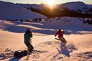 Adam Barker photographs Suz Graham at sunset during Whistler's Deep Winter Photo Challenge