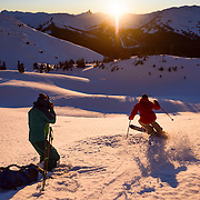 Adam Barker photographs Suz Graham at sunset during Whistler's Deep Winter Photo Challenge