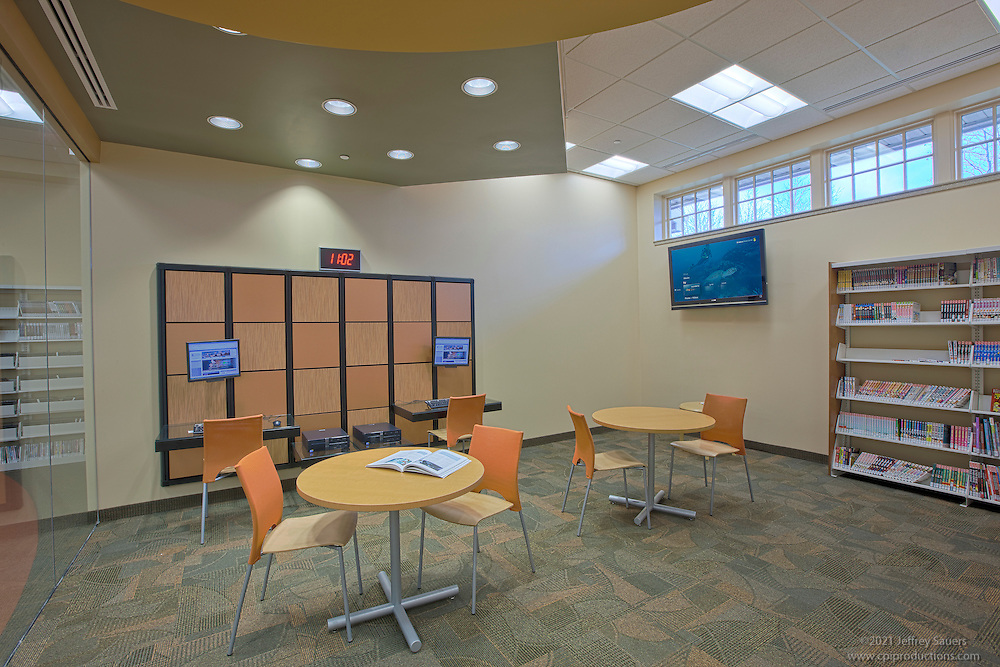 Architectural Photographers Jeffrey Sauers of Commercial Photographics of Maryland Image of Harford County Public Library Whitford Branch interior shot for Mullan Contracting Company and Lawrence Howard and Associates