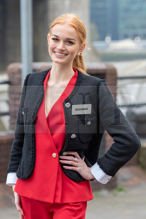 © Licensed to London News Pictures. 21/11/2019. London, UK. Miss Denmark (Natasja KUNDE) pictured at Tower Bridge. National representatives from around the world arrive in London for the 69th Miss World festival and final Photo credit: Peter Manning/LNP
