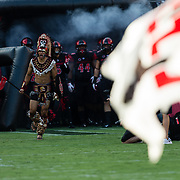 02 September 2017: The Aztec warrior leads the team onto the field prior to taking on the UC Davis Aggies. The Aztecs lead the Aggies 24-3 at the half at Qualcomm Stadium in San Diego, California. <br /> www.sdsuaztecphotos.com