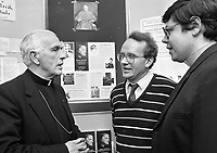 "Bishop James Kavanagh Auxilliary Bishop of Dublin officially opened the exhibition ""Cardinal Newman in Ireland"" in the Central Catholic Library in Merrion Square, Dublin, 16/10/1986 (Part of the Independent Newspapers Ireland/NLI Collection)."