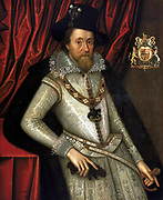 Portrait of James I by John de Critz - showing him as a very pedestrian painter, James is stiff and wooden. James VI and I (19 June 1566 – 27 March 1625) was King of Scots as James VI from 24 July 1567 and King of England and Ireland as James I from the union of the English and Scottish crowns on 24 March 1603 until his death