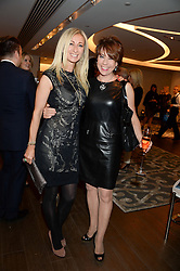 Left to right, JENNY HALPERN-PRINCE and KATHY LETTE at a reception to launch the range of Dr Lancer beauty products held at The Penthouse, Harrods, Knightsbridge, London on 16th September 2013.