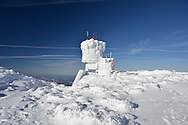 The Mount Washington Observatory tower covered in rime ice.