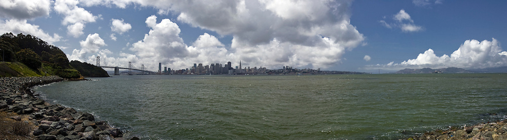 San Francisco from Treasure Island with cumulus clouds on an exceptionally clear good quality air day...4-23-08.042-2008.