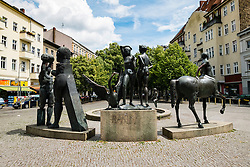 Sculptures on Karl Marx Platz in Neukölln district of Berlin Germany