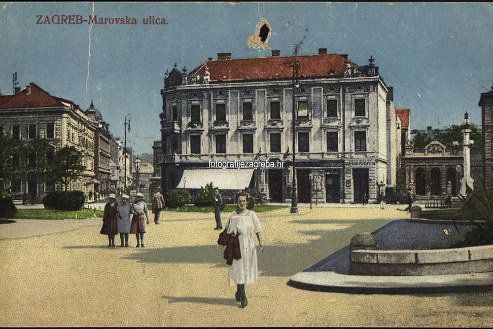 Zagreb : Marovska ulica. <br /> <br /> ImpresumS. l. : S. M. Z., 1922.<br /> Materijalni opis1 razglednica : tisak ; 8,9 x 14 cm.<br /> Vrstavizualna građa • razglednice<br /> ZbirkaGrafička zbirka NSK • Zbirka razglednica<br /> Formatimage/jpeg<br /> PredmetZagreb –– Tomaša Masaryka<br /> SignaturaRZG-MASS-3<br /> Obuhvat(vremenski)20. stoljeće<br /> NapomenaRazglednica je putovala. • S. M. Z. vjerojatno S. Marković Zagreb.<br /> PravaJavno dobro<br /> Identifikatori000952475<br /> NBN.HRNBN: urn:nbn:hr:238:272696 <br /> <br /> Izvor: Digitalne zbirke Nacionalne i sveučilišne knjižnice u Zagrebu