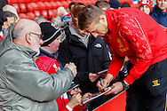 Lucas Leiva of Liverpool signs autographs for fans before the Barclays Premier League match at Anfield, Liverpool<br /> Picture by David Horn/Focus Images Ltd +44 7545 970036<br /> 08/02/2014