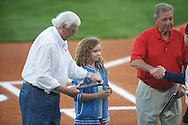 Former Ole Miss coach and two sport All-American Jake Gibbs and Ron Borne are recognized at Ole Miss vs. Alabama at Oxford-University Stadium in Oxford, Miss. on Friday, April 12, 2013. Ole Miss won 6-0 to snap a 6 game losing streak.