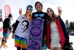 Filip Flisar, winner of crystal globe 2012 in ski cross with other competitors during Luza Petrol 007 on ski resort RTC Krvavec, 31.3.2012, Cerklje na Gorenjskem, ski resort RTC Krvavec, Slovenia