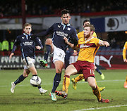 Dundee's Luka Tankulic and Motherwell's Mark O'Brien -  Dundee v Motherwell, SPFL Premiership at Dens Park <br /> <br /> <br />  - &copy; David Young - www.davidyoungphoto.co.uk - email: davidyoungphoto@gmail.com