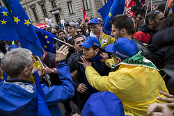 April 25, 2017 - Milan, Milan, Italy - The ''liberation day'' is celebrated on 25th April in Italy, as every year in the major squares in Italy, political and social demonstrations are celebrated. In Milan there have been some tensions and clashes between anti-Europeans and pro-Europeans. (Credit Image: © Davie Bosco/Pacific Press via ZUMA Wire)