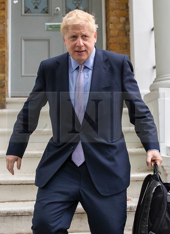© Licensed to London News Pictures. 12/06/2019. London, UK. Boris Johnson MP, who is running to be Leader of the Conservative Party and the next Prime Minister, leaves home in London. He will officially launch his leadership campaign today. Photo credit: Rob Pinney/LNP