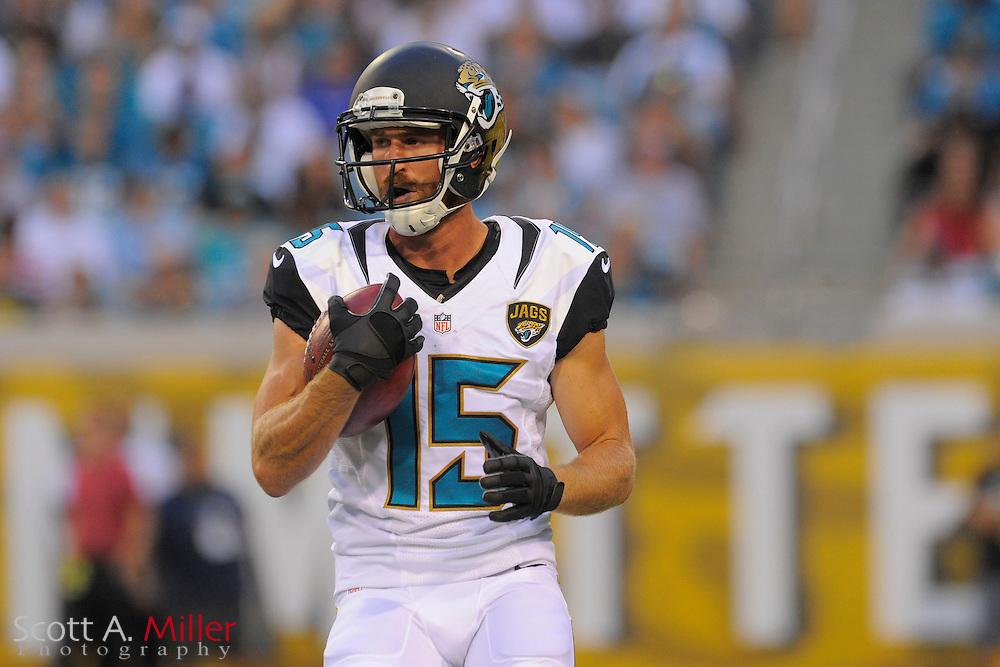 Jacksonville Jaguars wide receiver Jordan Shipley (15) during a preseason NFL game against the Philadelphia Eagles at EverBank Field on Aug. 24, 2013 in Jacksonville, Florida. The Eagles won 31-24.<br /> <br /> &copy;2013 Scott A. Miller