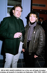 MR & MRS JAMES LINDSAY, he is the son of Lady Amabel Lindsay, at a party in London on February 19th 1997.LWN 7