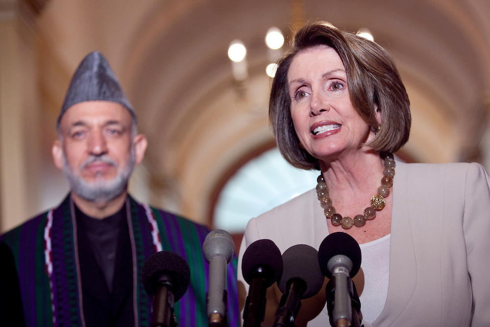 House Speaker Nancy Pelosi, Democrat of California, right, and Hamid Karzai, President of Afghanistan, speak to reporters in Washington D.C., Tuesday, May 5, 2009.