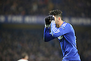 Chelsea striker Diego Costa (19) making the glasses gesture during the Champions League match between Chelsea and Paris Saint-Germain at Stamford Bridge, London, England on 9 March 2016. Photo by Matthew Redman.