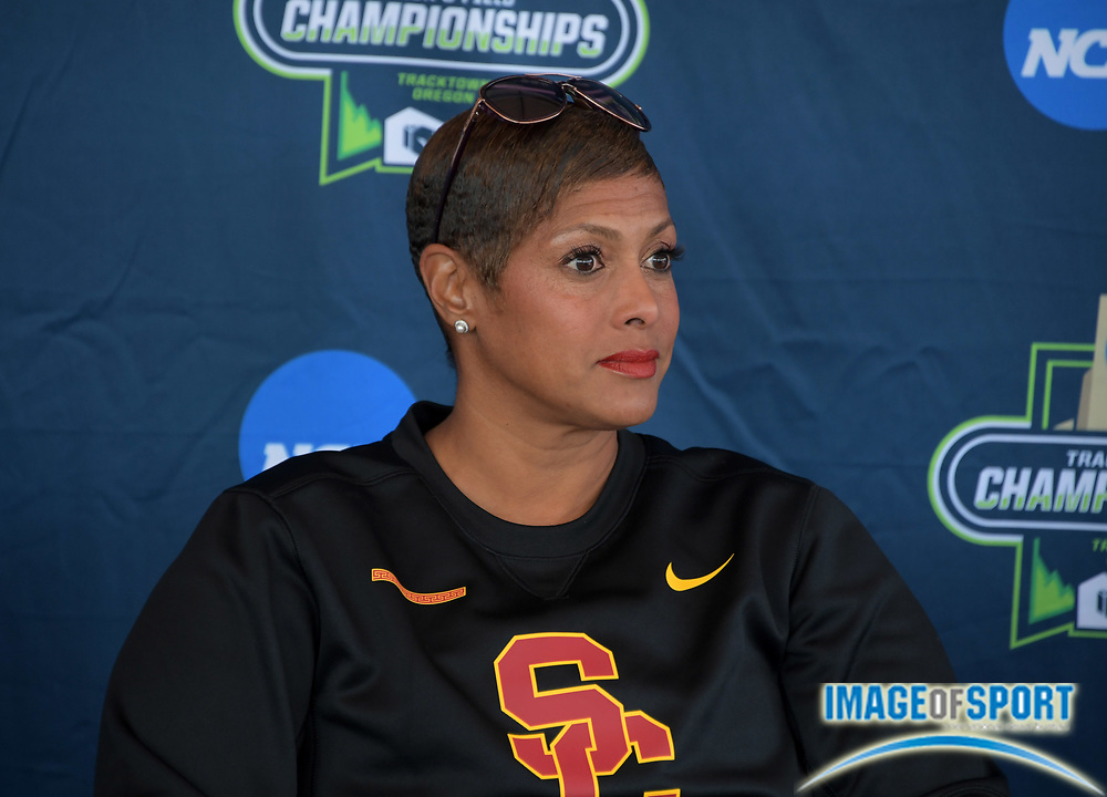 Southern California Trojans coach Caryl Smith Gilbert during a press conference prior to the NCAA Track and Field championships in Eugene, Ore., Tuesday, June 5, 2018.