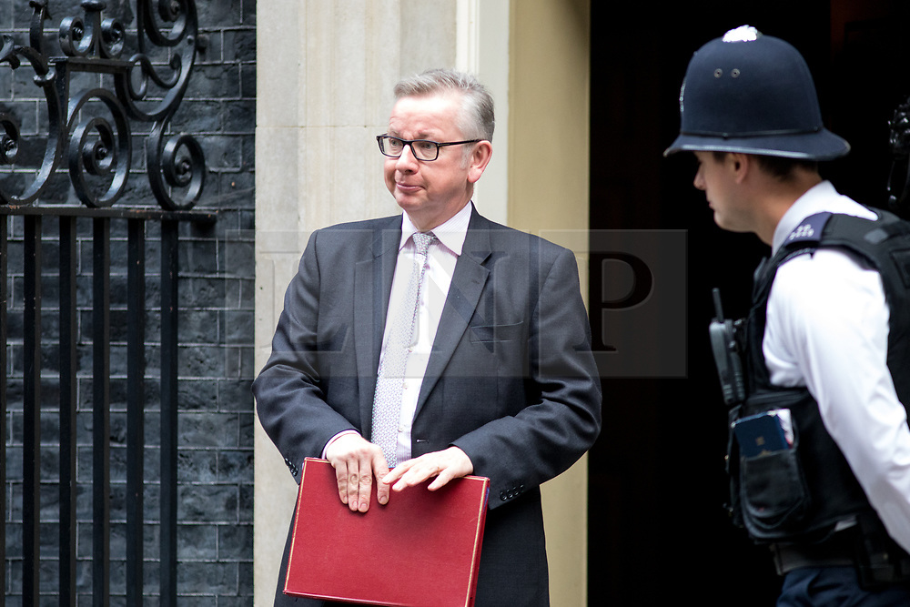 © Licensed to London News Pictures. 17/10/2017. London, UK. Environment, Food and Rural Affairs Secretary Michael Gove leaving No 10 Downing Street after attending a Cabinet meeting this morning. Photo credit : Tom Nicholson/LNP