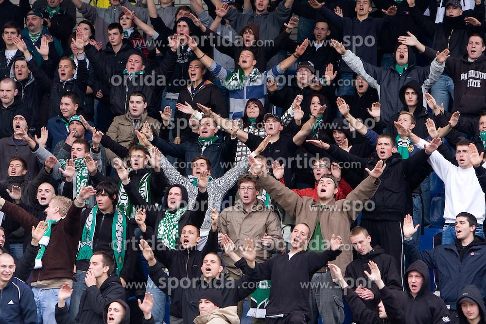 Fans of Olimpija Green Dragons at 3rd Round of Hervis Slovenian Cup football match between NK Olimpija Ljubljana and NK Maribor,  on October 21, 2009, in Sportni park Ljubljana, Ljubljana, Slovenia.  Maribor won 1:0. (Photo by Vid Ponikvar / Sportida)